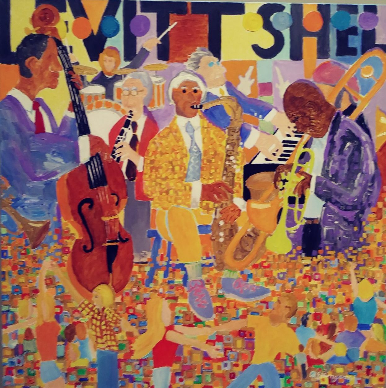 Painting of musicians playing on the Levitt Stage by Rodger Ellingson
